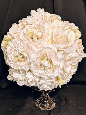 """9"""" Ivory Flower Ball"""