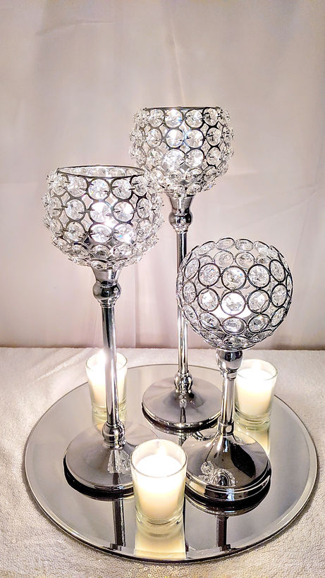 Crystal Bling Candle Holder Trio