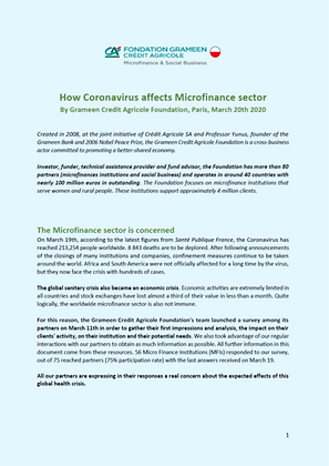 How Coronavirus affects the Microfinance Sector