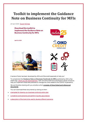 MFI Toolkit Guidance Note on Business Continuity