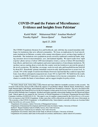 COVID-19 and the Future of Microfinance