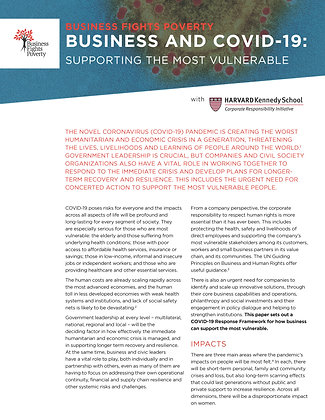 Business and COVID-19 - Supporting the most vulnerable
