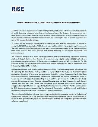 Indonesia COVID-19 MFI Rapid Assessment