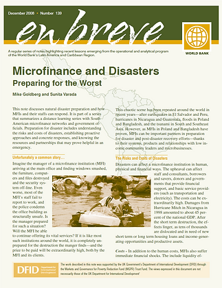 Microfinance and Disasters-Preparing for the Worst