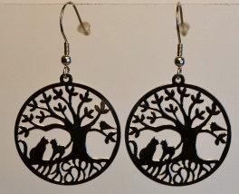 Boucles d'oreille, motif arbre & chats, inox