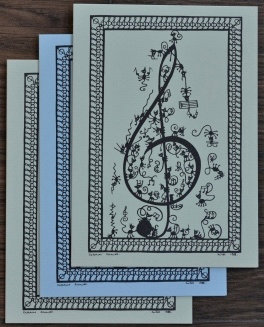 Cartes doubles A6 avec enveloppe, clé de sol (3 pièces)
