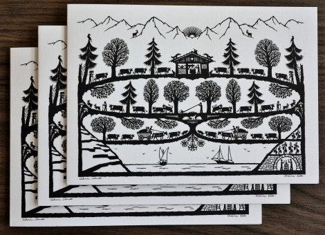 Cartes doubles A6 avec enveloppe, poya Léman (3 pièces)