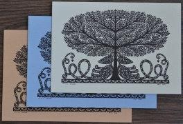 Cartes doubles A6 avec enveloppe, Arbre de Vie (3 pièces)