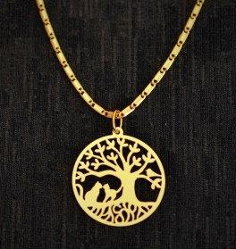 Collier grand arbre de Vie et chats, doré