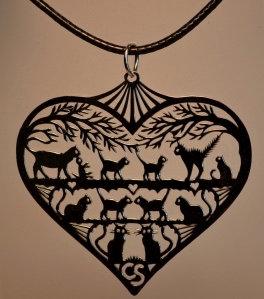 Collier coeur, motif chats, inox