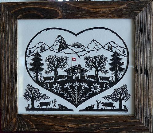 poya coeur, cadre bois ancien, 21.5 x 25 cm