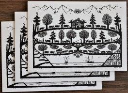 Cartes doubles A5 avec enveloppe, poya Léman (3 pièces)