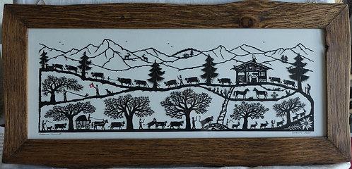 poya horizontale et ruisseau, cadre irrégulier bois ancien, 28.5 x 61.5 cm