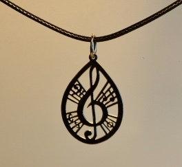 Collier motif musique, petit, inox