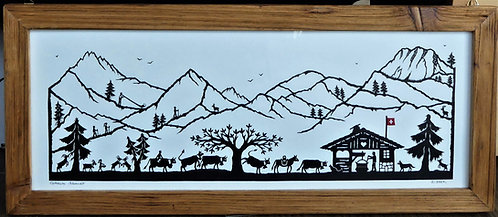 Poya gaie avec Moléson, cadre vieux bois, 21.8x51.2 (cadre compris)