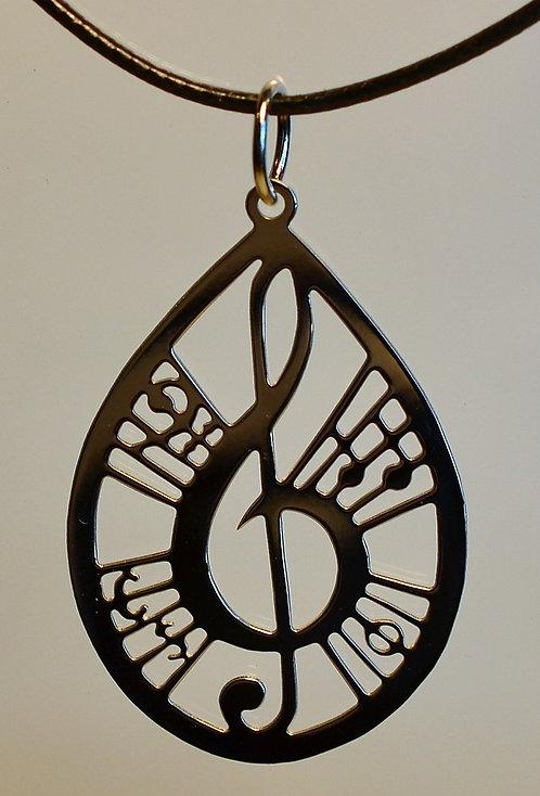 Collier motif musique, grand, inox