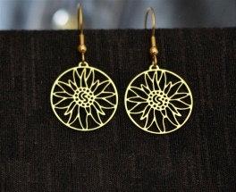 Boucles d'oreille petites, motif edelweiss, dorées ou inox