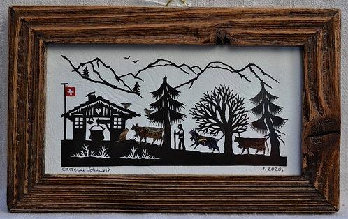 Petite poya couleurs cadre vieux bois