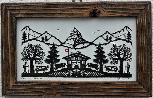 poya, cadre bois ancien, 14,2 x 22.2 cm (cadre compris)