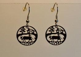 Boucles d'oreille, motif vache, inox