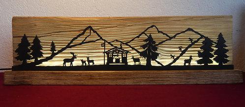 décor lumineux bois et LED, montagnes, 38 x 11.5 x 4 cm.