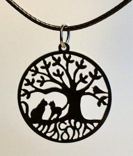 Collier motif grand arbre de Vie et chats,  inox