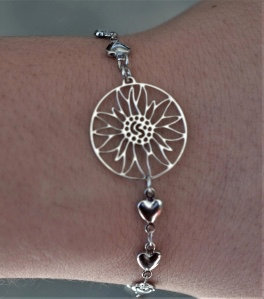 Bracelet, motif edelweiss, inox