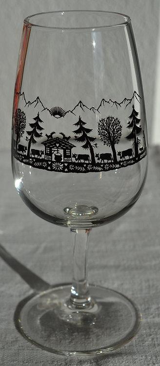 6 verres à vin blanc sur pied, motif poya