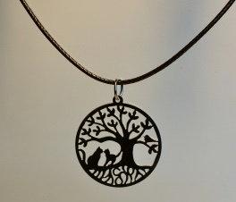 Collier petit arbre de Vie et chats,  inox