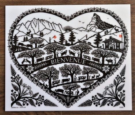 Poya Bienvenue coeur imprimée sur plexiglas blanc