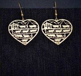 Boucles d'oreille coeur, motif poya, dorées ou inox
