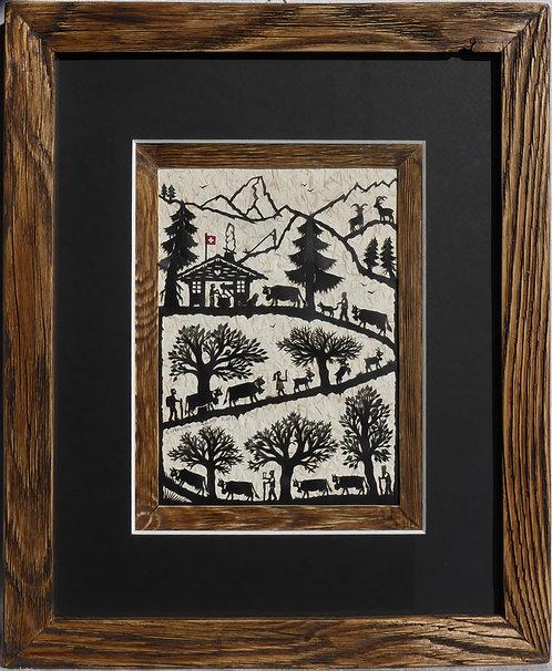 Poya verticale, passe-partout noir et bois, cadre bois ancien, 27 x 33 cm
