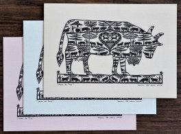 Cartes doubles A6 avec enveloppe, vache de Troie (3 pièces)