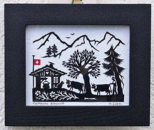 Petite poya, 10.5 x 12.5 cm, cadre noir