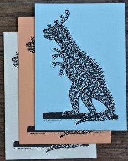 Cartes doubles A6 avec enveloppe, dinosaures (3 pièces)