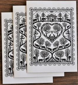 Cartes doubles A5 avec enveloppe, poya verticale (3 pièces)