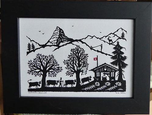 Poya noir et blanc, cadre bois peint noir de 16.8 x 21.7 cm