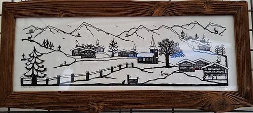 Village sous la neige, cadre bois ancien