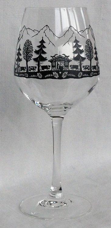 6 verres à vin rouge Robusto 37 cl. motif poya