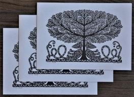 Cartes doubles A5 avec enveloppe, Arbre de Vie (3 pièces)
