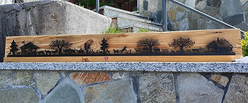 """décor lumineux bois et LED """"chalet-ferme"""", 105 x 13 x 4 cm (+4cm)"""