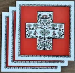 Cartes doubles carrées avec enveloppe, croix suisse (3 pièces)