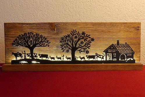 Décor lumineux bois et LED, ferme, 4 x 12.5 x 38 cm