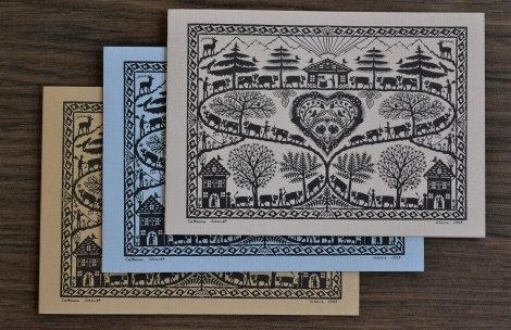 Cartes doubles A6 avec enveloppe, poya 3 couleurs (3 pièces)