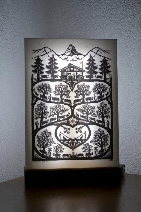 Décor Poya lumineux, impression sur plexiglas blanc A4, socle bois