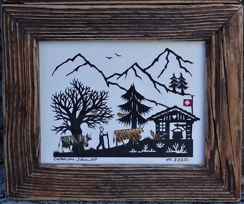petite poya couleurs, cadre bois ancien 11.4 x 13.6 cm