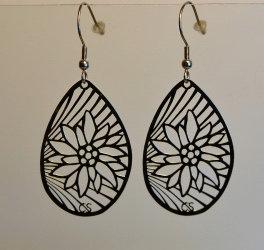 Boucles d'oreille ovales, motif edelweiss, inox