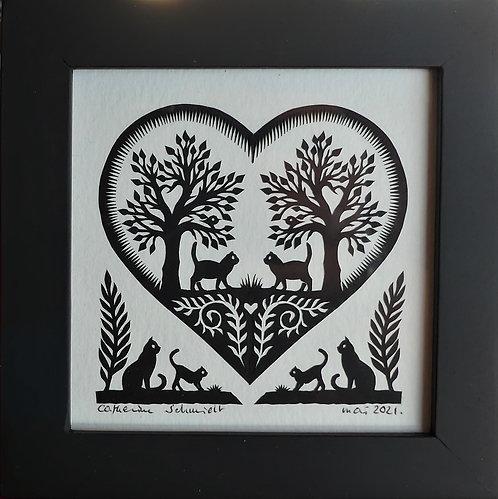 Coeur et 6 chats, cadre noir de 12.5 x 12.5 cm