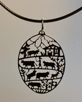 Collier motif poya ovale,  inox