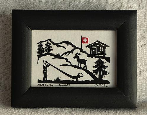 petite scène avec cor des Alpes, 7 x 9 cm